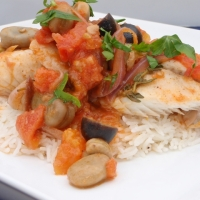 Mediterranean Poached Tilapia with Tomato and Fava Beans
