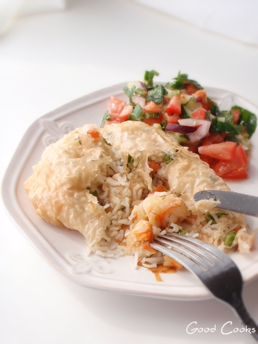 Seafood Rice Pilaf Phyllo Pockets