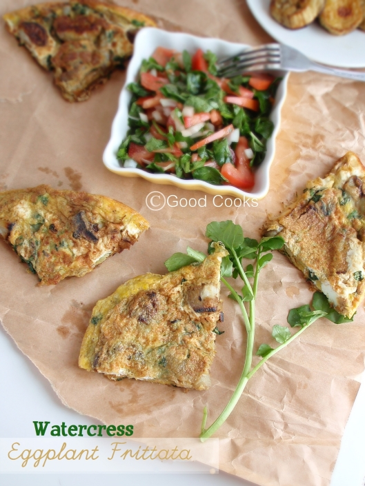 watercress eggplant fritatta